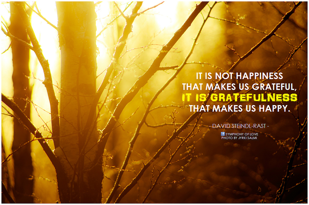 David Steindl-Rast It is not happiness that makes us grateful, it is gratefulness that makes us happy